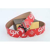 Louis Vuitton Woman Men Fashion Smooth Buckle Belt Leather Belt Skin Belts LV Beltt031