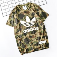 Adidas New fashion letter leaf print camouflage couple top t-shirt Army Green