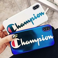 Champion Fashionable Women Men Personality Blu-Ray Mobile Phone Cover Case For iphone 6 6s 6plus 6s-plus 7 7plus 8 8plus X XSMax XR