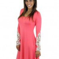 Coral Dress with Crochet Sleeves