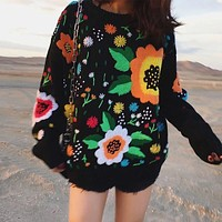 Boho Winter Sweater for Women Black Retro Vintage Runway Flowers Embroidery Sweater Warm Loose Knitted Jumper Womens Sweaters