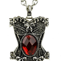 Red Stone Corset Necklace Gothic Design