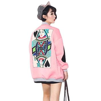 New Fashion 2017 Spring and Autumn Pink Black College Baseball Jacket Women  Quilted Style Ladies Floral  Casual Outwear A138