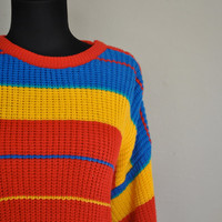 30 OFF SALE 1980s Sweater / Rainbow Sweater / by WayfaringMagnolia