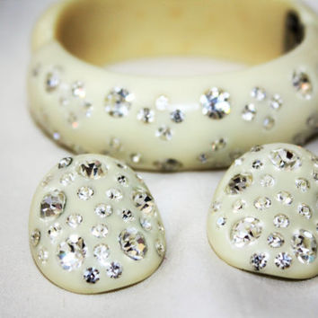Vintage Bracelet, Weiss  Rhinestone Lucite Clamper, Weiss Rhinestone Earrings, 1950s Jewelry