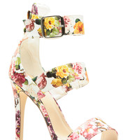 White Faux Leather Floral Strappy Single Sole Heels