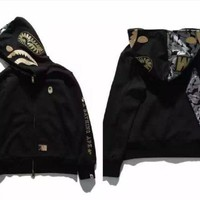 PEAPJ1A Large size loose men and women new black gold embroidery space cotton shark hooded sweater jacket