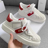 Dior 2021 spring and summer thick soled small white shoes Whire&Red