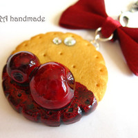 Kawaii cute handmade polymer clay butter cookie cherry jam bowknot cell phone strap charm
