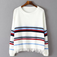 Color Block Stripe Tasseled Sweater
