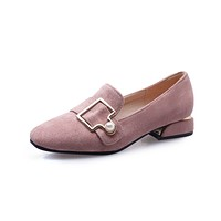 Ladies Square Head Shallow Mouth Low Heel Shoe Woman