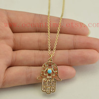 necklace,Hamsa Hand necklace,blue stone necklace,lucky necklace,golden color, friendship gift
