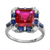 Gemstone Sterling Silver Tiered Square Ring (Stone/Ruby/Silver)