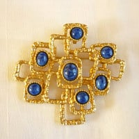 Sarah Coventry Brooch, Blue Cabochon Pin Brooch, Sarah Coventry Jewelry
