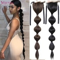HOUYAN Black lantern bubble long ponytail ponytail for women drawstring hair accessories fashionable synthetic ponytail