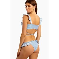 Chloe Ruffle Cheeky Bikini Bottom - Blue & White Stripe Print