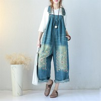 Yesno P91 Women Overalls Jumpsuits 100% Cotton Casual Embroidery Distressed Boyfriend Wide Leg