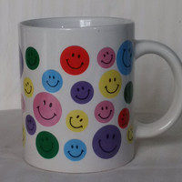 Vintage Happy Face Smiley Face coffee cup mug, multi-colored