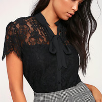 Sophia Black Lace Tie-Neck Top