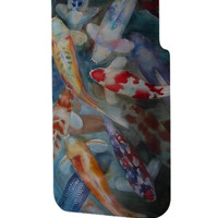 Best 3D Full Wrap Phone Case - Hard (PC) Cover with Koi Fish Watercolor Design