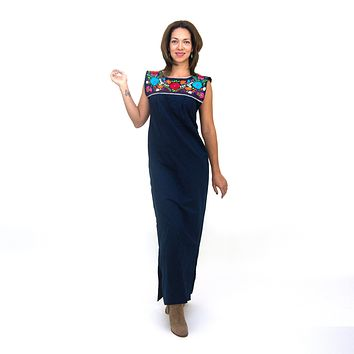 Maxi Isidra, Hand Embroidered Mexican Loose Dress