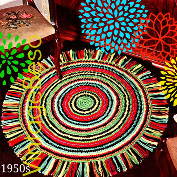 Rug Crochet PATTERN Vintage 1950s EASY Round Rug Retro Whip Up in sc Vintage Beso Instant Download PDF Pattern ebook