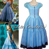 Alice in Wonderland Alice  Disney Princess Evening Party Dress Cosplay Costume made in Any size
