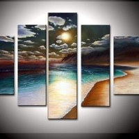 100% Hand-painted Free Shipping Wood Framed on the Back Artwork the Yellow Beach High Q. Wall Decor Landscape Oil Painting on Canvas 5pcs/set Mixorde:Amazon:Home & Kitchen