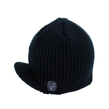 Knuckleheads Black Baby Boy's Stripe Visor Beanie with Tag Baby Hat