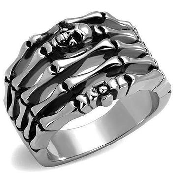 Silver Ring For Men TK2512 Stainless Steel Ring with Epoxy in Jet