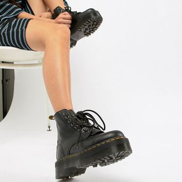 Dr Martens Sinclair Black Leather Zip Chunky Flatform Boots at asos.com