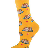 Womens Pancakes Crew Length Socks