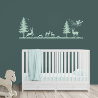 Woodland Forest Nursery Decor - Vinyl Wall Decal, Boys room decor, Boy Wall Art, Deer Hunting Decor, Forest Animals, Trees for Nursery