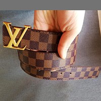 LV Tide brand classic checkerboard men and women models wild smooth buckle belt coffee