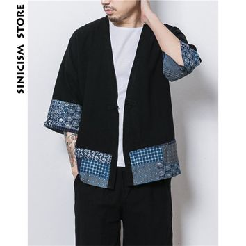 Sinicism Store Mens Jacket Coat Summer Thin Kimono Cardigan Coat Japan Vintage Windbreaker Patchwork Male Jackets Clothes 2018