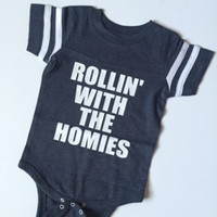 Rollin with my Homies - Jersey Onesuit -  Body Suit - Onesuit - Ruffles with Love - Baby Clothing - RWL Kids