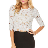 Floral Embroidered Top in White