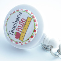 Magnetic Retractable ID Badge Reel - Teachers Rule White Badge Reel