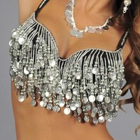 Silver Coin Tassel Belly Dancing Rave Bra