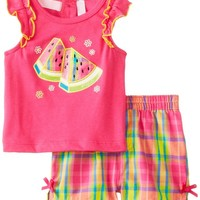 Kids Headquarters Baby-Girls Newborn Top with Plaided Shorts Watermelon, Pink, 3-6 Months
