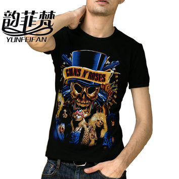 2016 Men T Shirts Famous Rock Band Guns N Roses Printed 100% 180g Combed Cotton Top Tee camisetas Brand Quality Customized