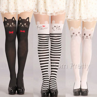 1 Pair Newly Cute Cats Patterned Pantyhose Stockings Sexy Tight Leggings
