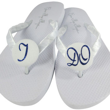 Navy Blue Wedding Flip Flops on White Sandals