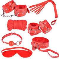 rED Sex game Leather 7 bondage kit set hand cuffs whip rope mask bed fetish bondage restraints erotic toys sex products for couples (Color: Red) = 1929844548