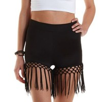 Black Knotted Fringe High-Waisted Shorts by Charlotte Russe