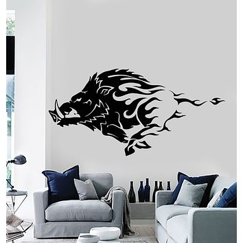 Vinyl Wall Decal Wild Boar Angry Pig Tribal Animal Decor Stickers Mural (g2618)