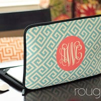 """GREEK 13"""" or 15"""" laptop sleeve - with monogram - NEW elastic tabs give you the option to keep the sleeve on while you work"""