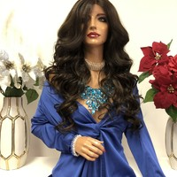 """Brown Highlights Lace Wig 22"""" 1218"""