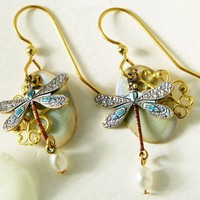 Silver Forest Fresh Water Pearl Dragonfly Earrings One Size
