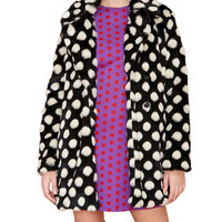 Polka Dot Faux Fur Long Sleeve Overcoat